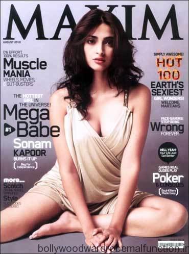Sonam Kapoor exposes her deep cleavage on maxim