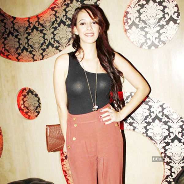 Hazel Keech in a see through outfit