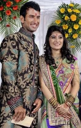 Cheteshwar Pujara and Pooja Pabari
