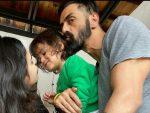 Arjun Rampal and Gabriella Demetriades with son Arik Rampal